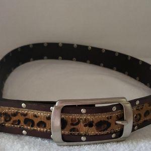 Women's Studded Animal Print Leather Belt
